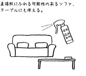 直接肌にふれる可能性のあるソファ、テーブルにも使える。